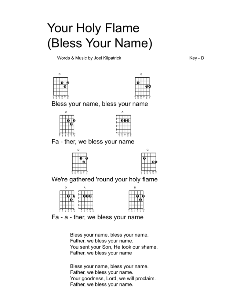 Icon - guitar chart Your Holy Flame (Bless Your Name)